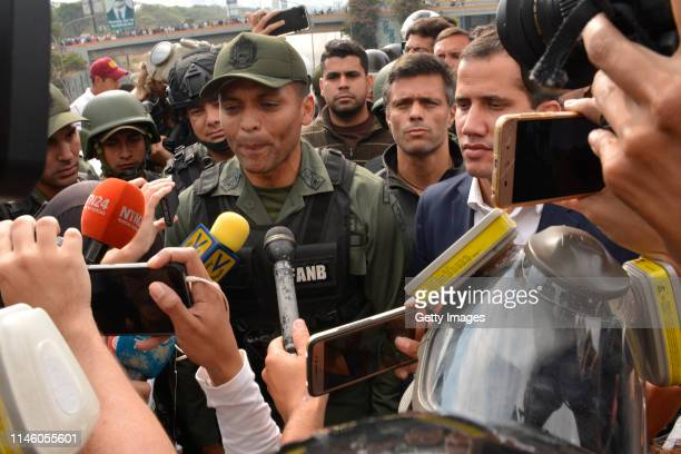 Venezuelan opposition leader Juan Guaidó recognized by many members of the international community as the country's rightful interim ruler talks to...