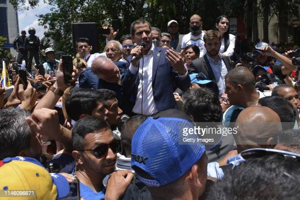 Venezuelan opposition leader Juan Guaidó recognized by many members of the international community as the country's rightful interim ruler speaks to...