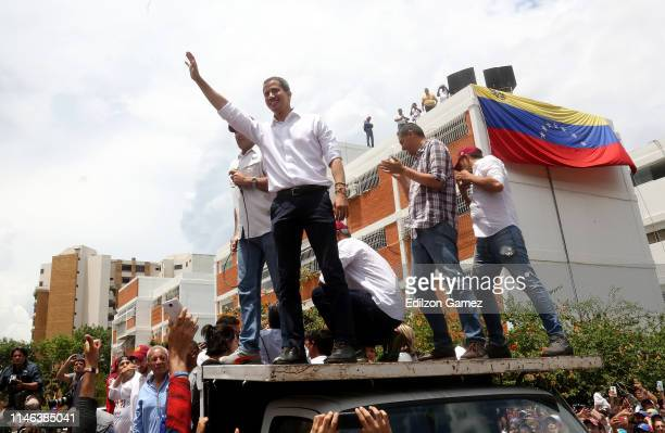 Venezuelan opposition leader Juan Guaidó, recognized by many members of the international community as the country's rightful interim ruler, arrives...