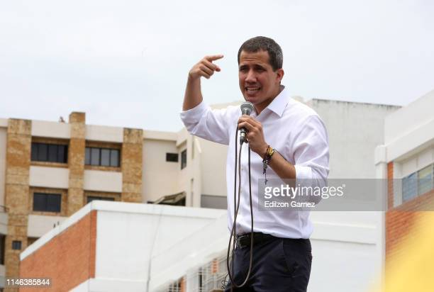 Venezuelan opposition leader Juan Guaidó recognized by many members of the international community as the country's rightful interim ruler speaks...