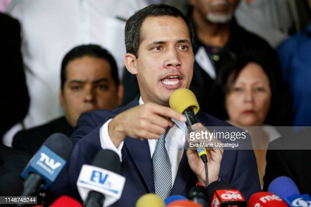 Venezuelan opposition leader Juan Guaidó speaks during a press conference at the headquarters of political party Un Nuevo Tiempo on May 03, 2019 in...