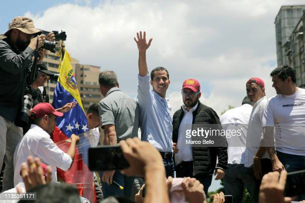 Venezuelan opposition leader Juan Guaido attends a rally with supporters on April 6, 2019 in Caracas, Venezuela. Venezuelan opposition leader Juan...