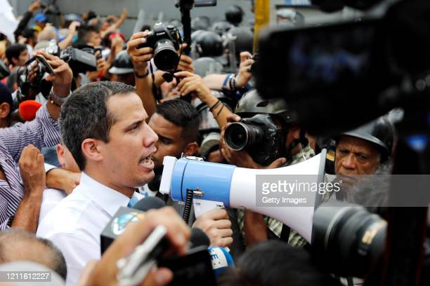 Venezuelan opposition leader Juan Guaido, recognized by many members of the international community as the country's rightful interim ruler, speaks...