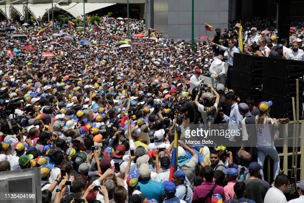 Venezuelan opposition leader Juan Guaido speaks during a rally with supporters on April 6, 2019 in Caracas, Venezuela. Venezuelan opposition leader...