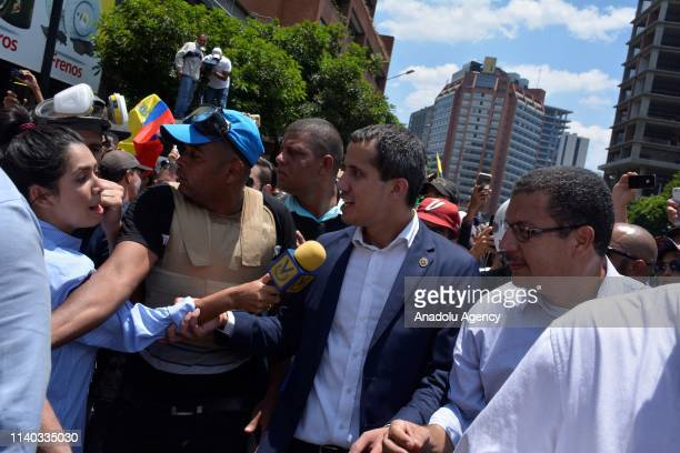 Venezuelan opposition leader Juan Guaido speaks to his supporters in Caracas Venezuela April 30 2019 A group of soldiers is selfdeployed on the...