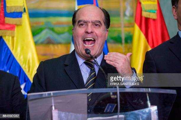 Venezuelan opposition leader Julio Borges speaks at a press conference after a meeting with representatives of the Venezuelan government on December...