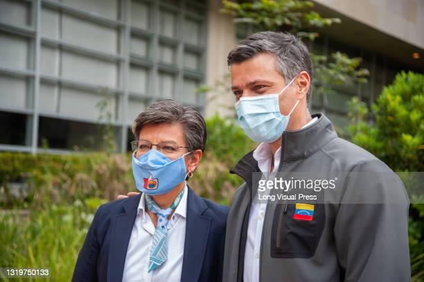 Venezuelan opposition leader Leopoldo Lopez attends a Christmas party for Venezuelan migrants along Mayor of Bogota, Claudia Lopez in Bogota,...