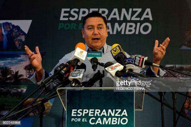 Venezuelan opposition presidential precandidate and evangelical pastor Javier Bertucci gestures during a press conference in Caracas on February 21...