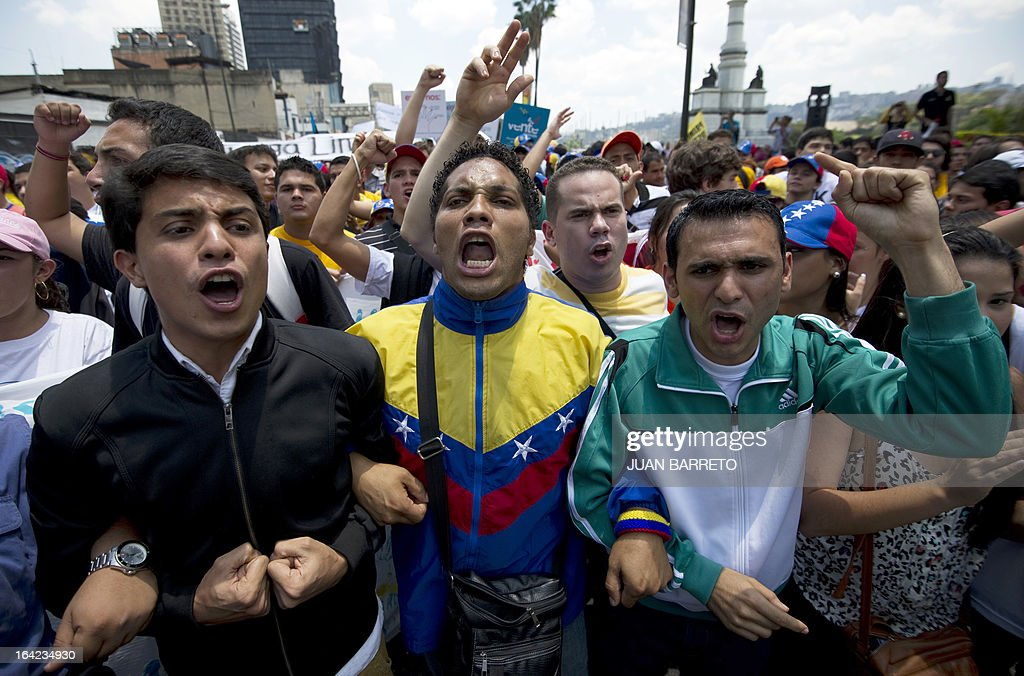 Venezuelan opposition students demonstrate in downtown Caracas on March 21, 2013 demanding to the National Electoral Council (CNE) transparency during the presidential elections next February 14.
