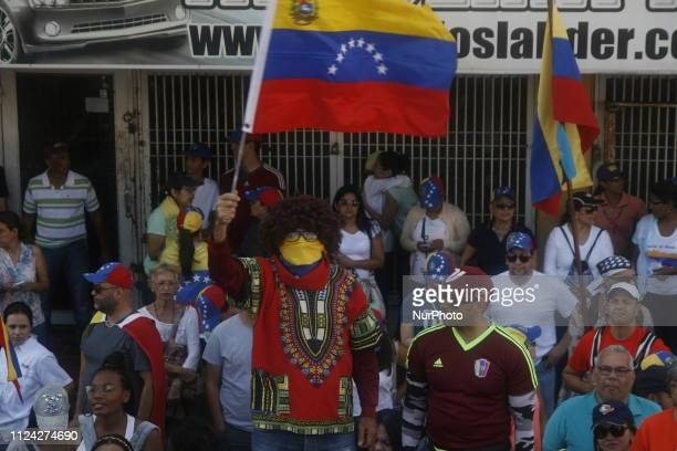 Venezuelan people students workers and civil society march in support of humanitarian aid in Maracaibo Venezuela on 12 February 2019 After the...