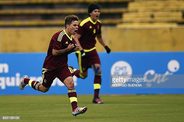 Venezuelan player Yeferson Soteldo celebrates his goal against Colombia during their South American Championship U20 football match at the Olimpico...