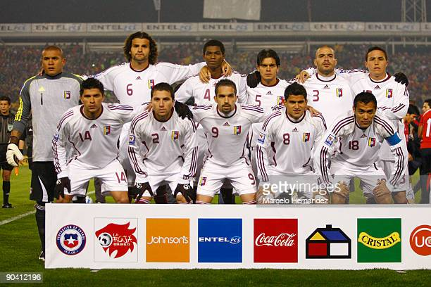 Venezuelan players pose ahead of a 2010 FIFA World Cup South American qualifier against Chile at the Nacional Stadium on September 05 2009 in...