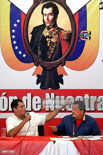 Venezuelan President Hugo Chavez and his Ecuadorean counterpart Rafael Correa gesture underneath a portrait of Venezuelan independence hero Antonio...