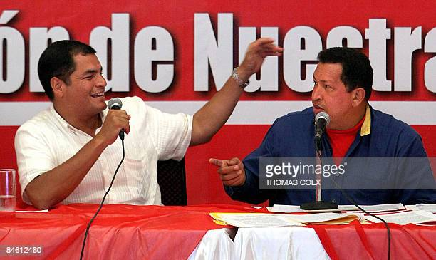 Venezuelan President Hugo Chavez and his Ecuadorean counterpart Rafael Correa gesture as they answer journalists' questions during an official visit...