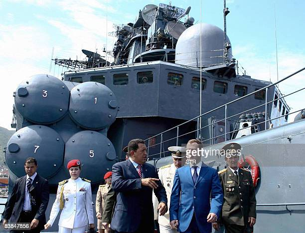 Venezuelan President Hugo Chavez and his Russian counterpart Dmitry Medvedev visit the Udaloy-class anti-submarine vessel Admiral Chabanenko, moored...