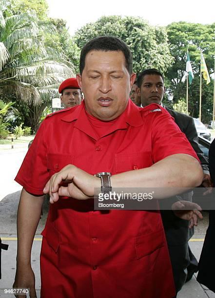 Venezuelan President Hugo Chavez arrives to the Tropical Hotel in Manaus Brazil on Thursday Sept 20 2007 President Chavez said he'll discuss plans to...