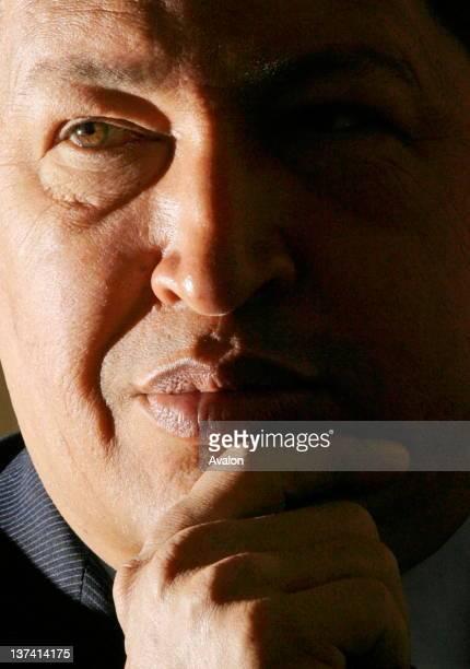 Venezuelan president Hugo Chavez at thew Savoy Hotel in London 15 May 2006