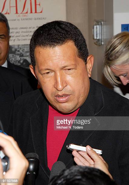 Venezuelan President Hugo Chavez attends the 'South of the Border' premiere at the Walter Reade Theater on September 23 2009 in New York City