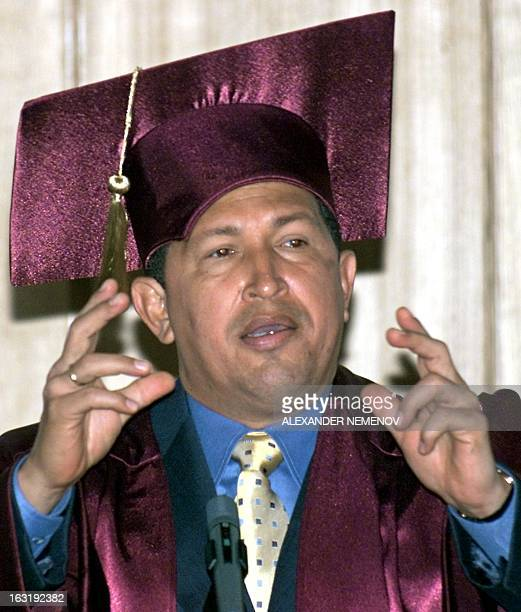 Venezuelan President Hugo Chavez delivers a speech 15 May 2001 before the Russian Foreign Ministry's Diplomatic Academy after being awarded an...