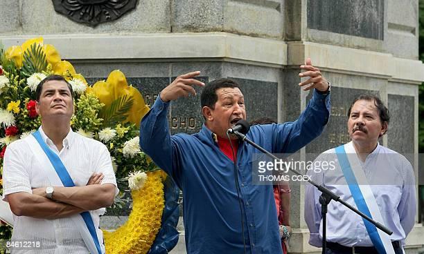 Venezuelan President Hugo Chavez delivers a speech alongside his counterparts from Ecuador Rafael Correa and Nicaragua Daniel Ortega during an...