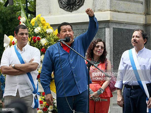 Venezuelan President Hugo Chavez delivers a speech alongside his counterparts from Ecuador Rafael Correa and Nicaragua Daniel Ortega as well as...