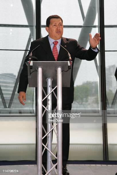 Venezuelan president Hugo Chavez during Venezuelan president Hugo Chavez and Mayor of London Ken Livingstone Hold Meeting in London May 15 2006 at...