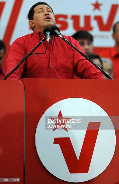 Venezuelan President Hugo Chavez gestures as he addresses the crowd during a rally to celebrate his 10th anniversary in power outside the Miraflores...
