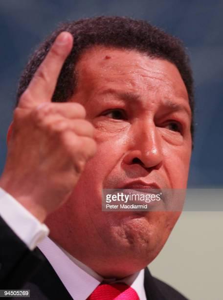 Venezuelan President Hugo Chavez gestures as he speaks to delegates at the Climate Change Conference on December 16 2009 in Copenhagen Denmark...
