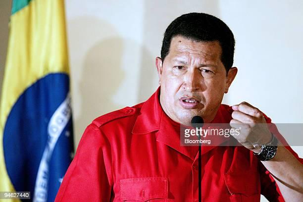 Venezuelan President Hugo Chavez left speaks during a joint news conferenc with Brazilian President Luiz Inacio Lula da Silva unseen in Tropical...