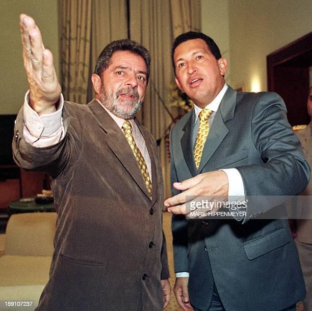 Venezuelan President Hugo Chavez meets with leader of the Worker's Party leader Luiz Inacio Lula Da Silva in Sao Paulo El presidente venezolano Hugo...