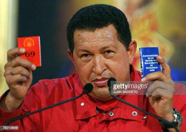 Venezuelan President Hugo Chavez speak at a press conference after hearing the result of a referendum in Caracas 03 December 2007 Venezuela's voters...