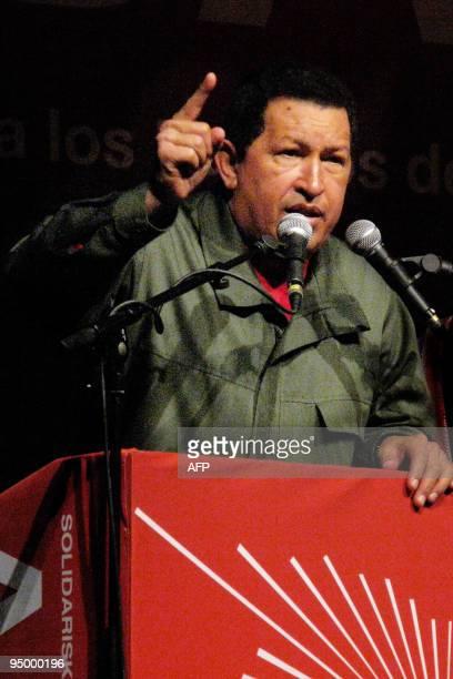 Venezuelan President Hugo Chavez speaks at a meeting in Valby Hallen in Copenhagen on December 17 2009 World leaders warned today that the UN climate...