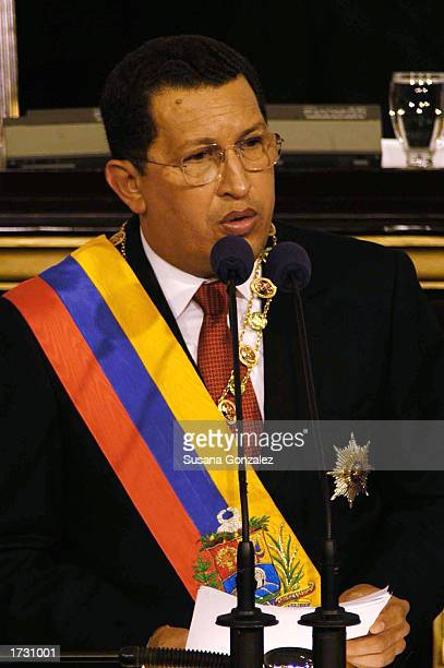 Venezuelan President Hugo Chavez speaks before the National Assembly as he delivers his annual speech January 17 2003 in Caracas Venezuela In his...