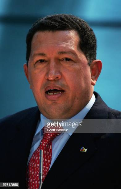 Venezuelan President Hugo Chavez speaks during a news conference held with London Mayor Ken Livingstone at City Hall on May 15 2006 in London England...
