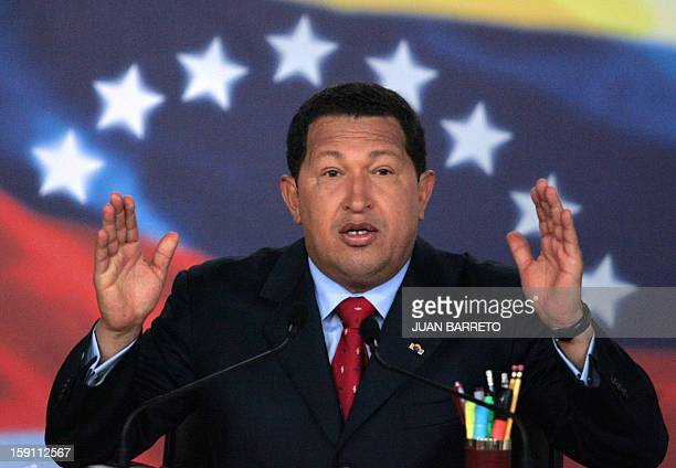 Venezuelan President Hugo Chavez speaks during a press conference at the Miraflores presidential palace in Caracas 13 November 2007 Chavez said that...