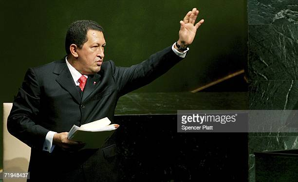 Venezuelan President Hugo Chavez waves after addressing the United Nations General Assembly September 20 2006 at the UN in New York City The annual...