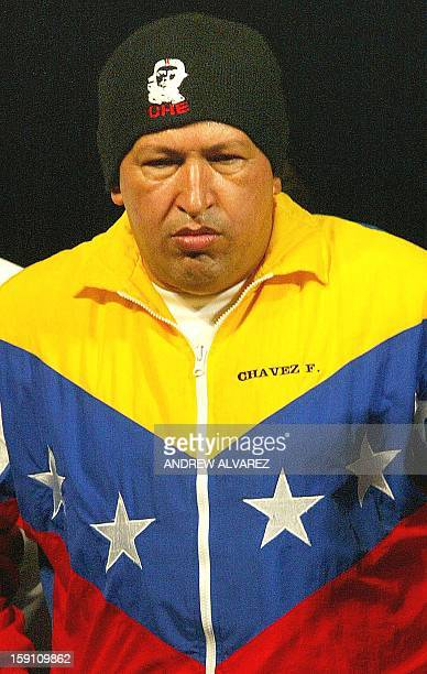 Venezuelan President Hugo Chavez wears a hat representative of Che Guevara during an event in Caracas 28 September 2002 The United States opposes the...
