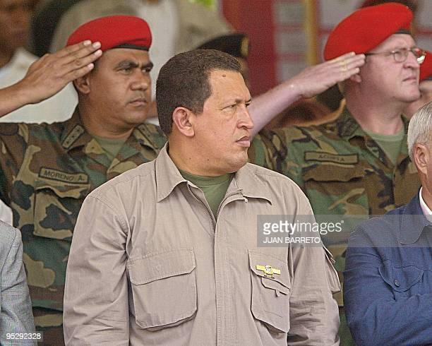 Venezuelan President is seen during a military parade in Caracas Venezuela 27 February 2003 El presidente venezolano Hugo Chávez asiste a un desfile...