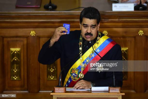TOPSHOT Venezuelan President Nicolas Maduro addresses the allpowerful proMaduro assembly which has been placed over the National Assembly and tasked...