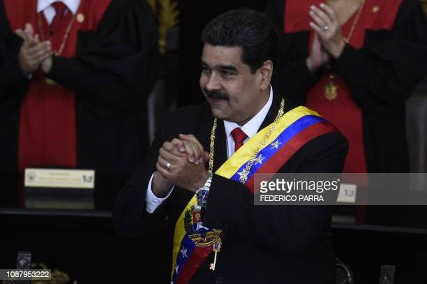 TOPSHOT Venezuelan President Nicolas Maduro attends the opening ceremony of the judicial year at the Supreme Court of Justice in Caracas on January...