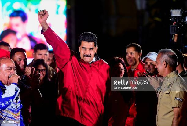 TOPSHOT Venezuelan president Nicolas Maduro celebrates the results of 'Constituent Assembly' in Caracas on July 31 2017 Deadly violence erupted...