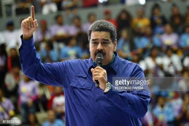 Venezuelan President Nicolas Maduro delivers a speech during a rally in Caracas on February 7 2018 Maduro launched Wednesday a political movement to...