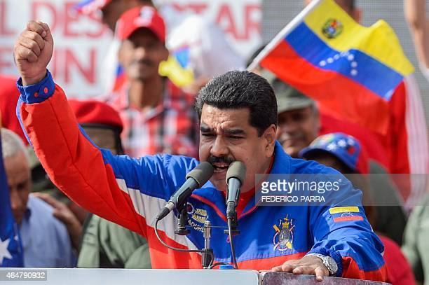 Venezuelan President Nicolas Maduro delivers a speech during a ceremony commemorating the 26th anniversary of El Caracazo a deadly popular revolt in...