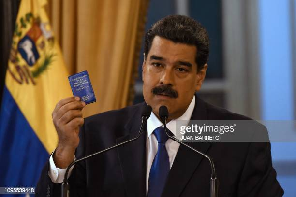 Venezuelan President Nicolas Maduro delivers a speech in Caracas on February 8 2018 Maduro rejected 'onesided' international forum on Venezuela after...