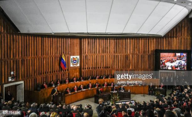 Venezuelan President Nicolas Maduro delivers a speech reviewing his year in office at the Supreme Court of Justice in Caracas on January 15 2017...