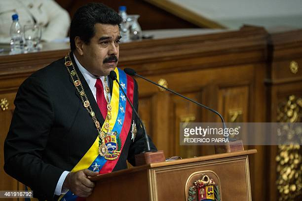 Venezuelan President Nicolas Maduro delivers his annual message to the Nation in Caracas on January 21 2015 AFP PHOTO/FEDERICO PARRA