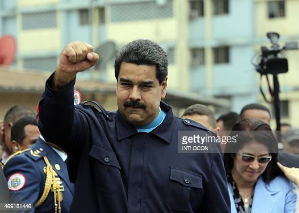 Venezuelan President Nicolas Maduro gestures after giving a speech during a visit at El Chorrillo neighborhood in Panama City on April 10 2015...