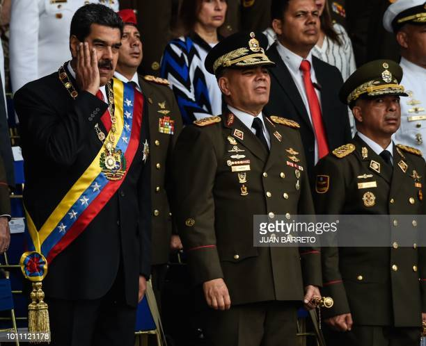 TOPSHOT Venezuelan President Nicolas Maduro gestures next to Minister of Defence General Vladimir Padrino during a ceremony to celebrate the 81st...