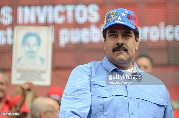 Venezuelan President Nicolas Maduro gives a speech during the 'March of the Undefeated' commemorating the 57th anniversary of the overthrow of the...