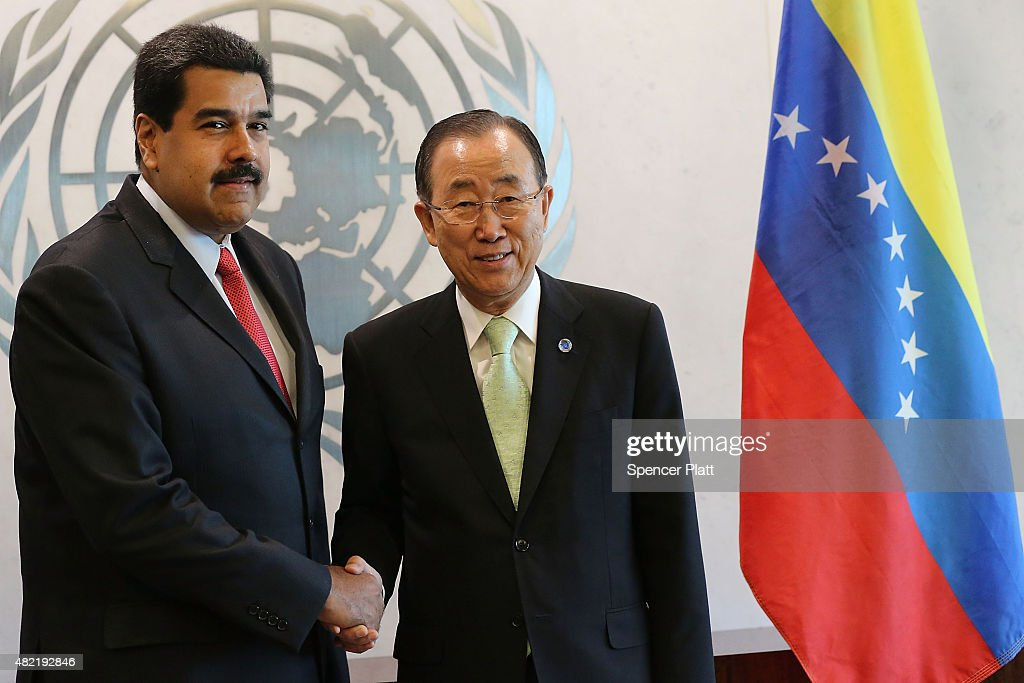 Venezuelan President Nicolas Maduro (left) meets with UN chief Ban Ki-moon at the United Nations (UN) headquarters in New York on July 28, 2015 in New York City. Maduro is in New York to speak with the UN about his country's escalating border dispute with Guyana.